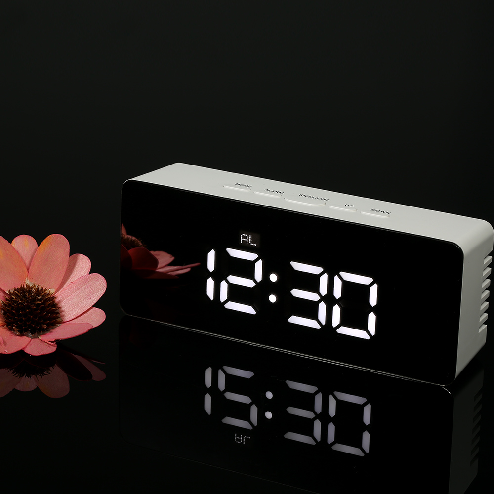 Digital LED Table Alarm Clock and Snooze Function Mirror Clock Indoor Thermometer