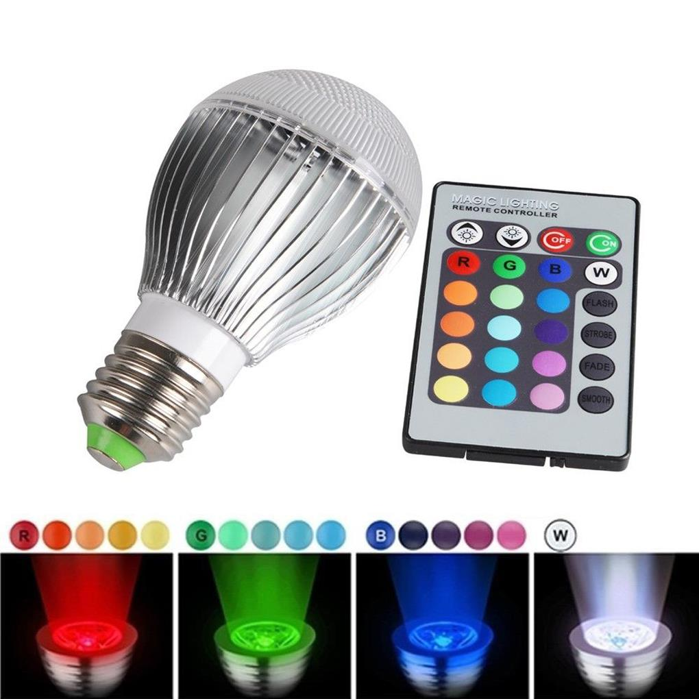 30W E27 RGB LED Bulb Light Lamp+ 24 key IR Remote Control 60x107mm