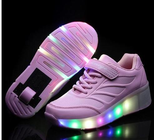 ФОТО Retail 2017 new children girls / boys LED lights children's single shoes size 28-42
