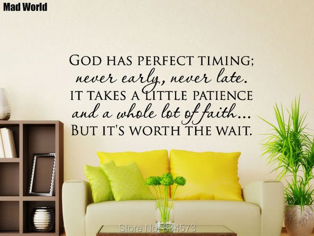Mad Wereld God Heeft Perfecte Timing Quote Wall Art Stickers