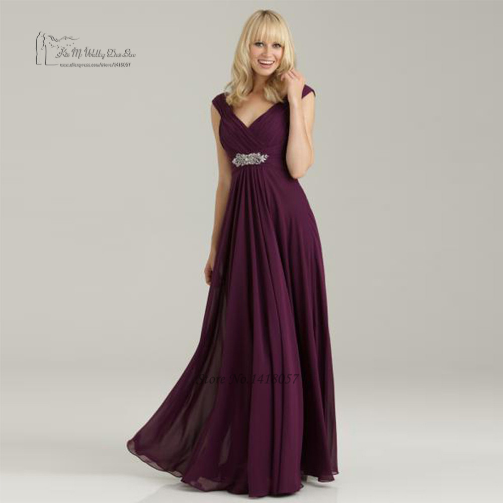 Purple Maternity   Bridesmaid     Dresses   Floor Length Wedding Party   Dress   Gowns V Neck Empire Waistline Crystal Belt Vestido Longo