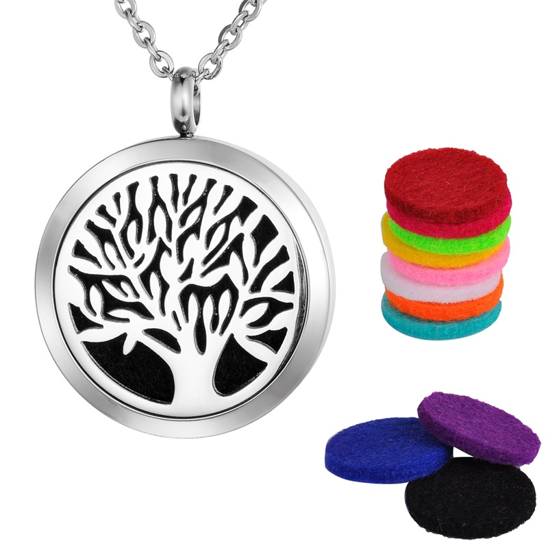 VALYRIA 1PC Dull Silver Tone Stainless Steel Tree of Life Round Magnetic Lock Aromatherapy Essential Oil Diffuser Necklace 30mm in Pendants from Jewelry Accessories