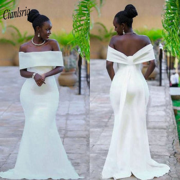 Elegant Black Girls Off The Shoulder Mermaid Evening Dress Plus Size African Long Formal Evening Party Dress robe de soiree