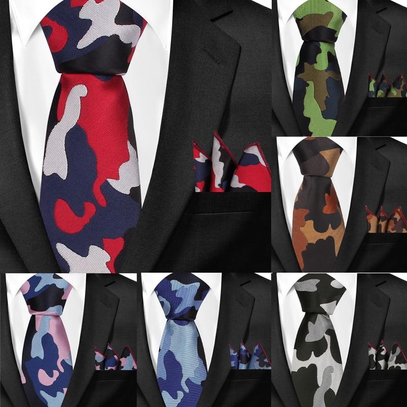 Classic Camouflage Neck Ties And Pocket Square Sets For Men Casual Slim Tie And Hanky Set Gravatas Skinny Mens Neckties Men Ties