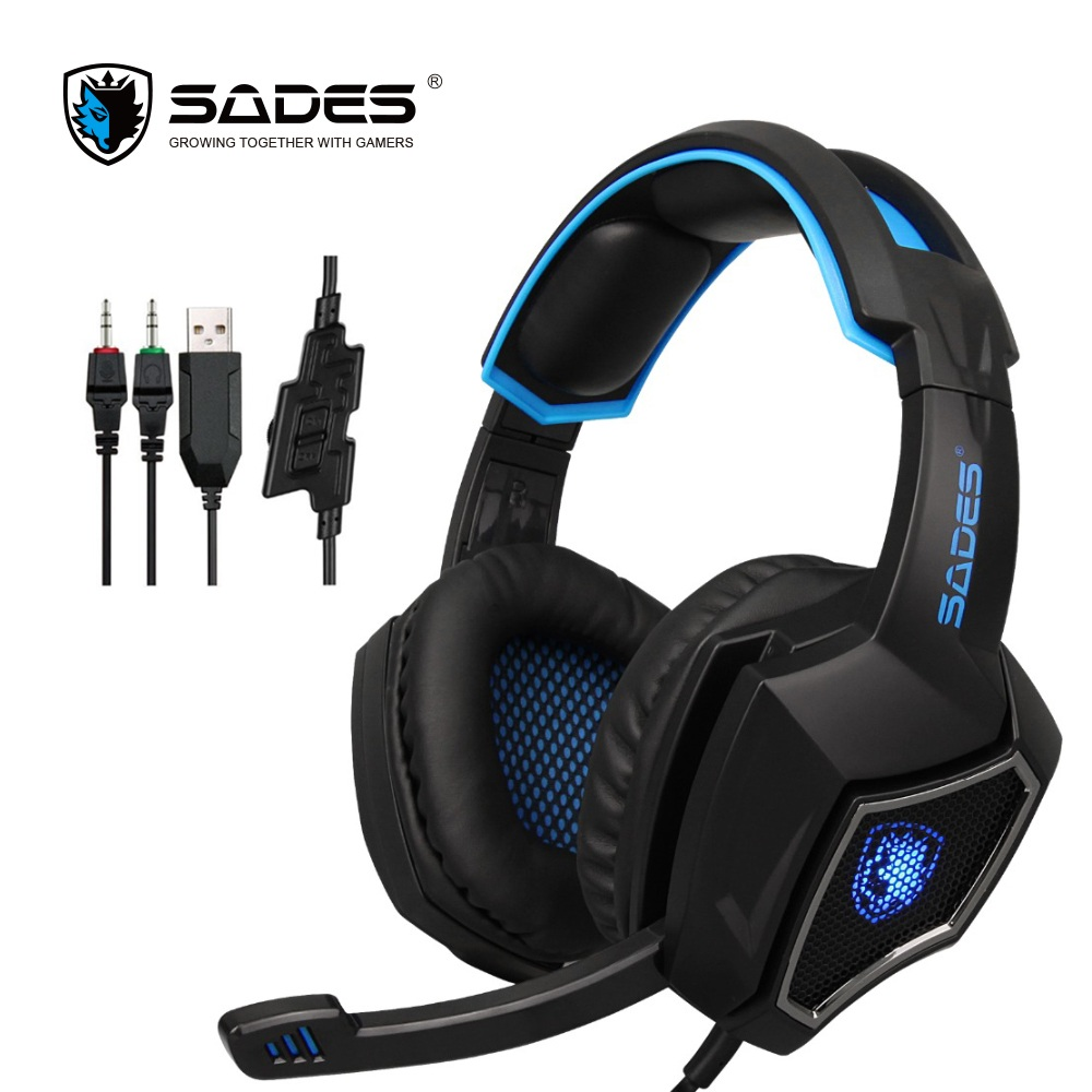 SADES Semangat Serigala kabel headset gaming headphone audio stereo permainan 3.5mm dengan mikrofon untuk komputer gamer pc laptop