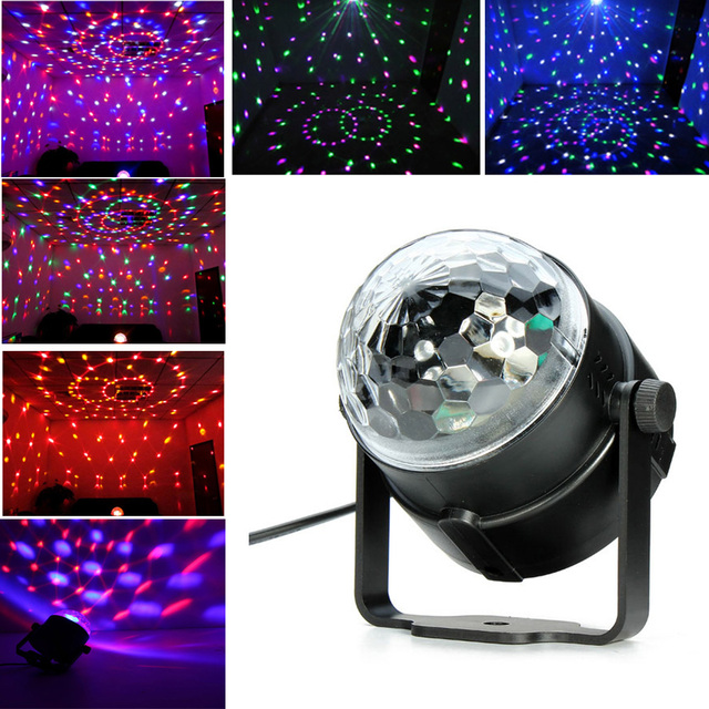 Xool Auto Sound Activated 3W RGB LED Mini Crystal Magic Rotating Ball Effect LED Stage Lights for KTV Club Pub Disco DJ