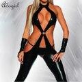 Mulheres eróticas Látex Preto Catsuit Pole Dance Sexy Estilo de moda lingerie Maid Costume Macacão Para As Mulheres carnaval Páscoa Dia