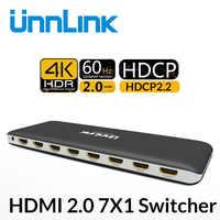 Unnlink interruptor HDMI 3x1 5x1 7x1 HDMI 2,0 UHD 4K @ 60Hz 10Bit HDR HDCP2.2 con control remoto IR para Xbox uno s/x PS4 pro LED inteligente TV box