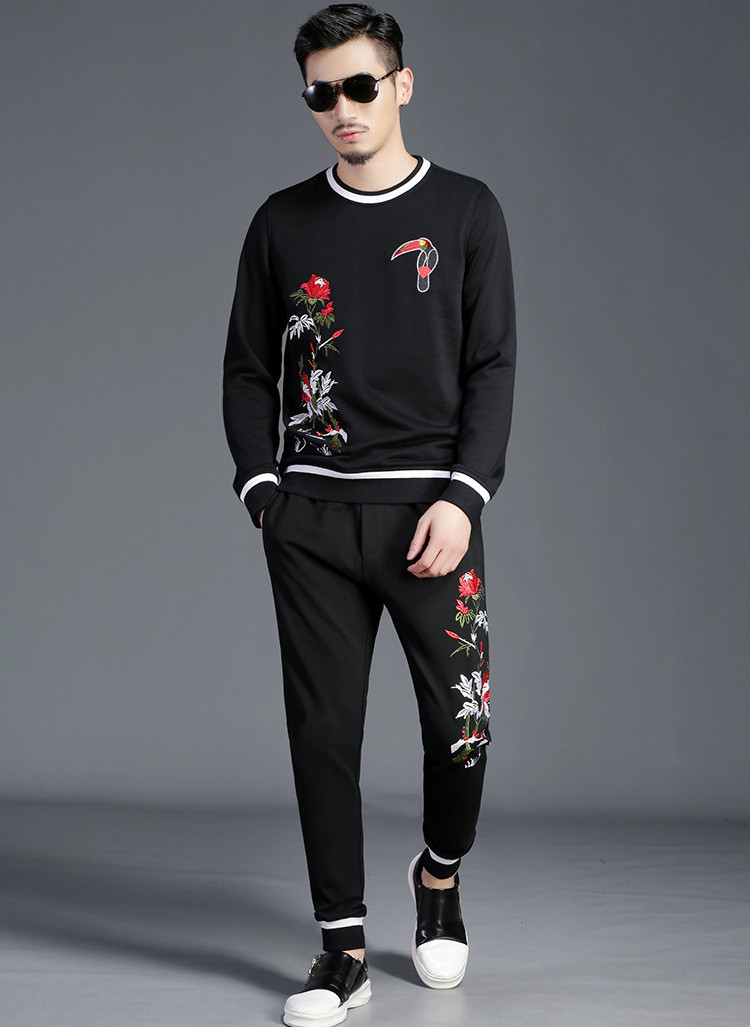 Hot Fashion men 39 s casual set embroidered Sweatshirt casual pants 2pieces set Autumn winter men 39 s leisure suit M 6XL A541 in Men 39 s Sets from Men 39 s Clothing