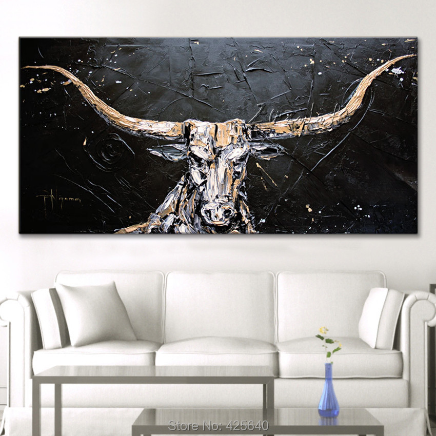 buy bull canvas abstract painting hand painted wall art oil paintings modern. Black Bedroom Furniture Sets. Home Design Ideas