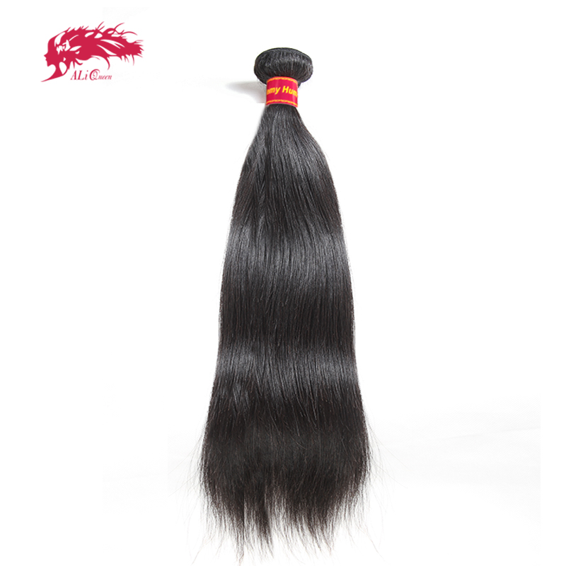 Ali Queen Hair Brazilian Remy Hair Straight Bundles Natural Black Color 100% Human Hair Weaving 8inch To 28inch Free Shipping