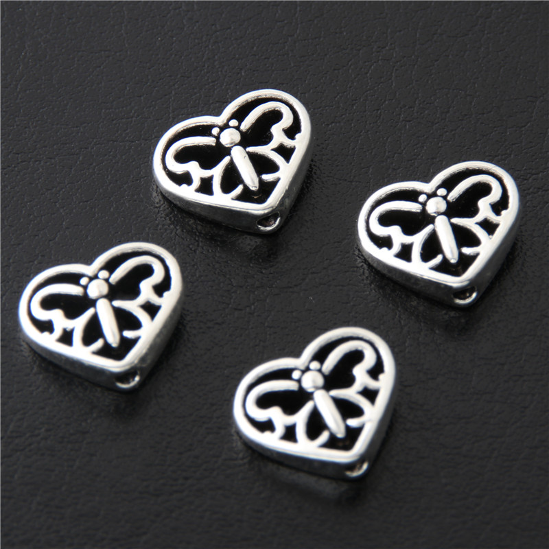 30pcs Antique Sliver 3D Spacer Bead Hollow Heart shaped Charms Butterfly Pattern Pendant Making Jewelry Supplies 12x10x4mm A3068