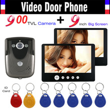 9 Inch Monitor Video Intercom Door Phone System 900TVL HD Camera 7pcs RFID Keyfob Wired Video Doorbell IR Night Vision Camera