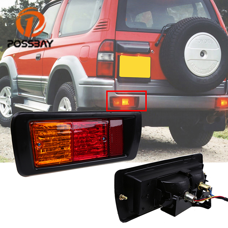 POSSBAY Car Rear Bumper Fog Light for Toyota Land Cruiser Prado (90) 1997 1998 1999 2000 2001 2002 Red LED Tail Lights