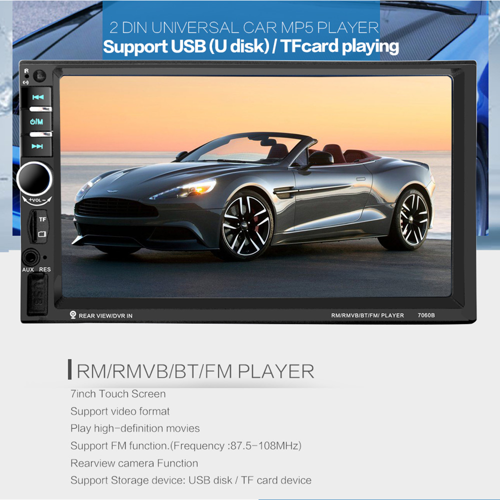 7 '' HD Touch Screen 2 Din Bluetooth Car Audio Stereo FM MP5 speler - Auto-elektronica - Foto 2