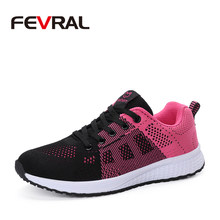FEVRAL 2020 Hot Sale Woman Sneakers Fashion Lightweight Mesh Flat Woman Shoes Spring Summer Lace-Up Breathable Woman Shoes(China)