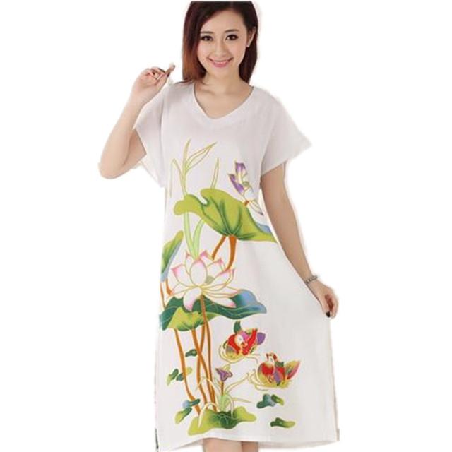 Marca New White lady Camisola de Algodão Estilo Chinês Roupão de Banho Vestido de Flor de Impressão Sleepwear Camisola Tamanho T050