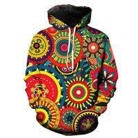Sondirane Newest 3D Color Print Oil Art Leaves Funny Hoodies Long Sleeve Pullover Sweatshirts Casual Men