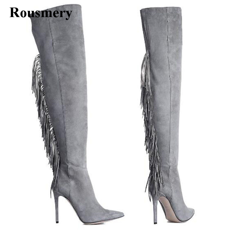 Hot Selling Women Fashion Pointed Toe Suede Leather Over Knee Tassels High Heel Boots Sexy Long Thigh Fringes Boots hot sale women fashion pointed toe cut out over knee suede leather gladiator boots black beige color long sexy boots dress shoes