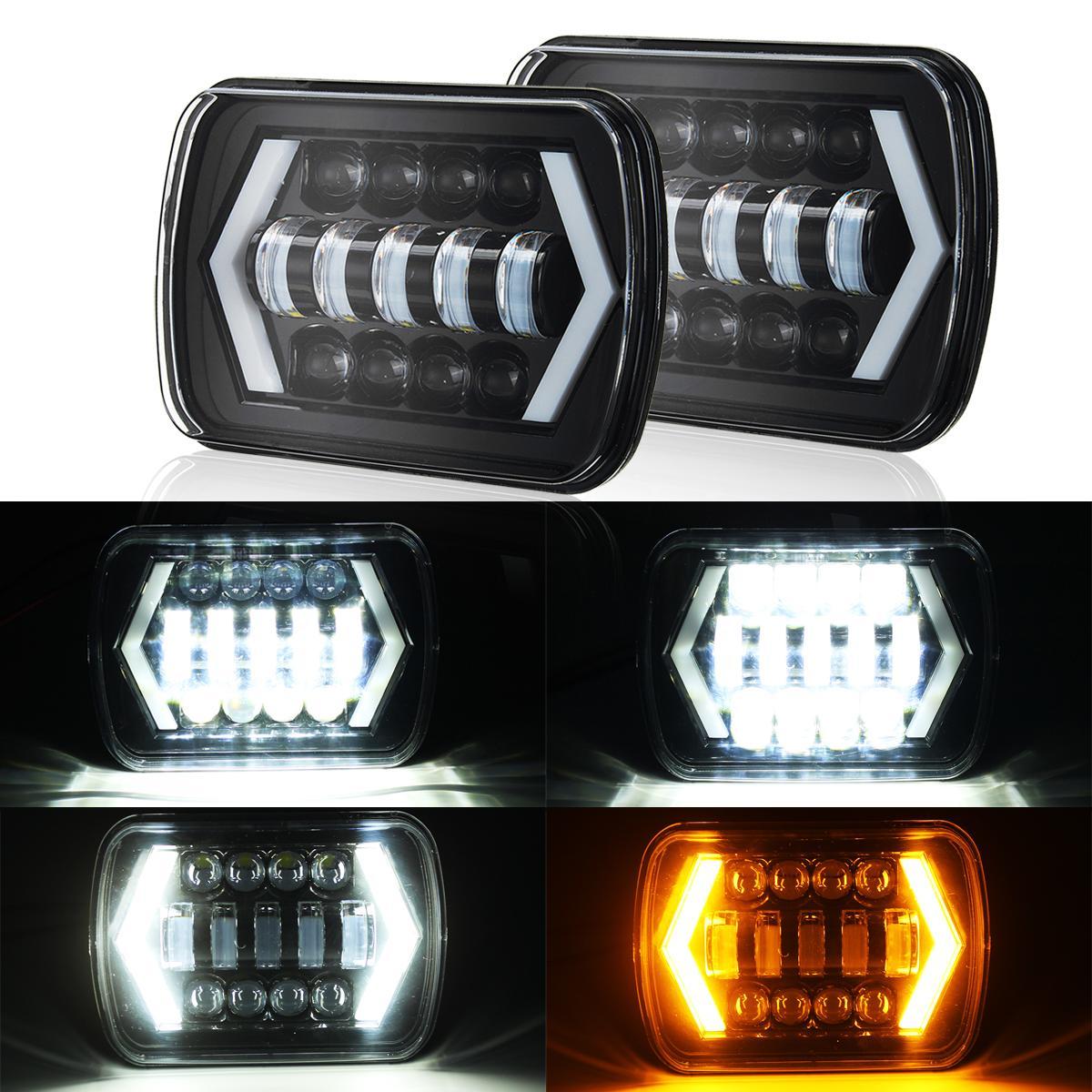2 Pcs 7x6 ''5X7 Projecteur LED Phare Salut-Lo Faisceau DRL pour Jeep Cherokee XJ Camions 1984-2001