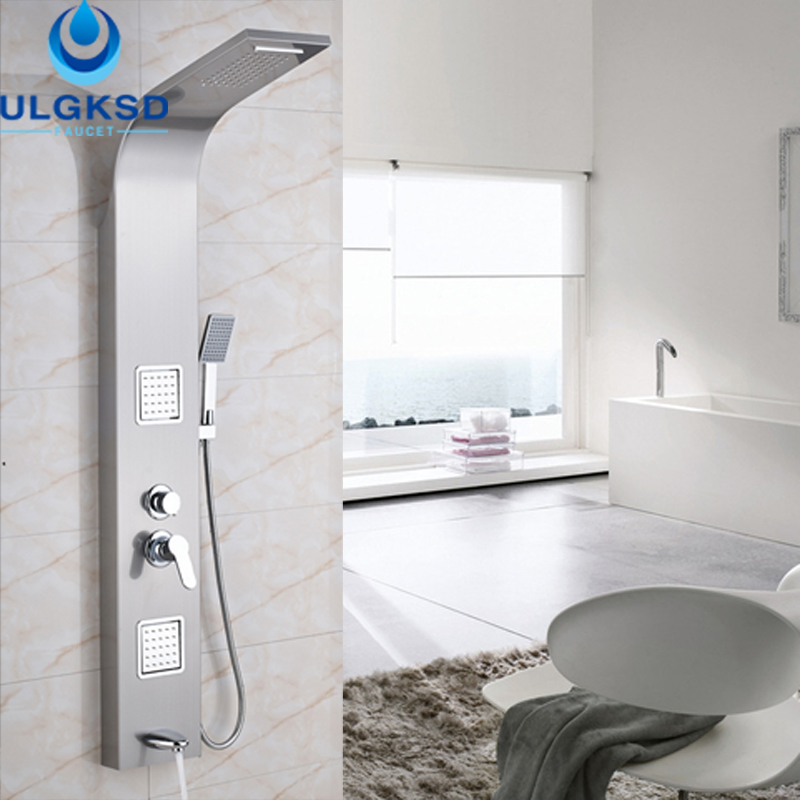 Ulgksd Promotion Shower Faucet Shower Panel Waterfall Rainfall Shower Head Massage Tub Spout Shower Jets Tub Filler Mixer Taps