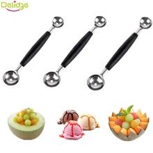 Delidge, 1 шт., двойная многофункциональная фруктовая ложка, нержавеющая сталь, дыня, нож для резьбы, ложка для мороженого