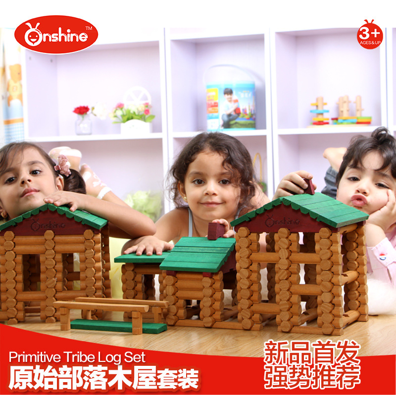 Onshine Baby Toys 382pcs Wooden Building Blocks Primitive Tribe Log Set General Store Treehaus Lumber Birthday Gift 50pcs hot sale wooden intelligence stick education wooden toys building blocks montessori mathematical gift baby toys