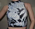 Free Shipping New in Womens Fashion 2016 Summer Black and White Print Bandage Crop Top