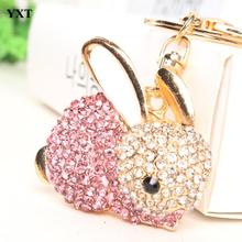 Rose Rabbit Keyring Lovely Pendant Charm Rhinestone Crystal Purse Bag Car Key Chain New Fashion Design Gift Accessories