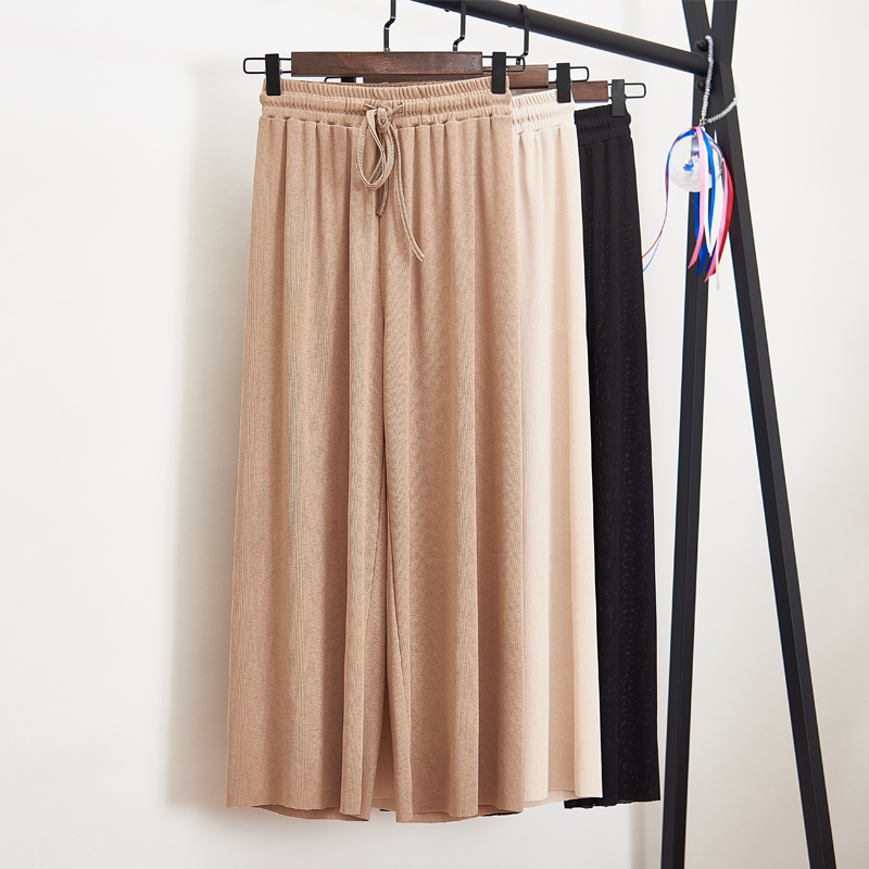 Knit Trousers Pants Wide-Leg Elastic-Waist Thin Black Plus-Size Summer Women S-4XL Casual