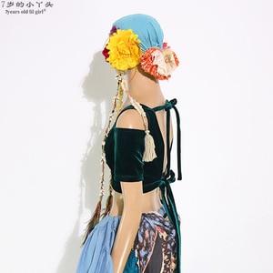 Image 2 - Belly Dance Velvet Fat Chance Tribal Choli Belly Dance Costume Short Drop Sleeve Top women top CJJ21