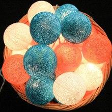 Белый/синий/оранжевый ватные шарики светодио дный Строка Фея Рождественские Праздничные огни гирлянды Guirlande Lumineuse Свадебная вечеринка Декор