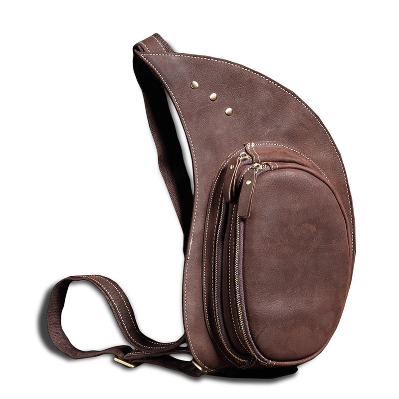 ФОТО New Men's Genuine Leather Crazy Horse Leather Chest Pack Vintage Shoulder Bags Leisure Messenger Bag