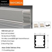 Tinyorda 1000 шт.(длина 1 м) светодиодный профиль Alu светодиодный профиль канала для 10 мм Светодиодные полосы света 1 м светодиодный профиль Alu профильный кабельный канал
