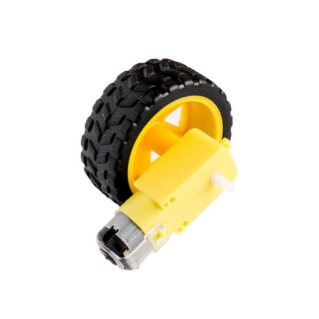 Best prices Deceleration DC motor + supporting wheels , a / smart car  chassis, motor / robot car wheels-in Integrated Circuits from Electronic