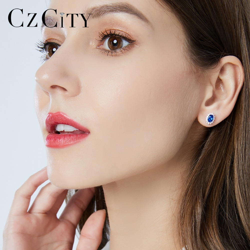 CZCITY New Natural Birthstone Royal Blue Sapphires Stud Earrings With Solid 925 Sterling Silver Fine Jewelry For Women Brincos 2