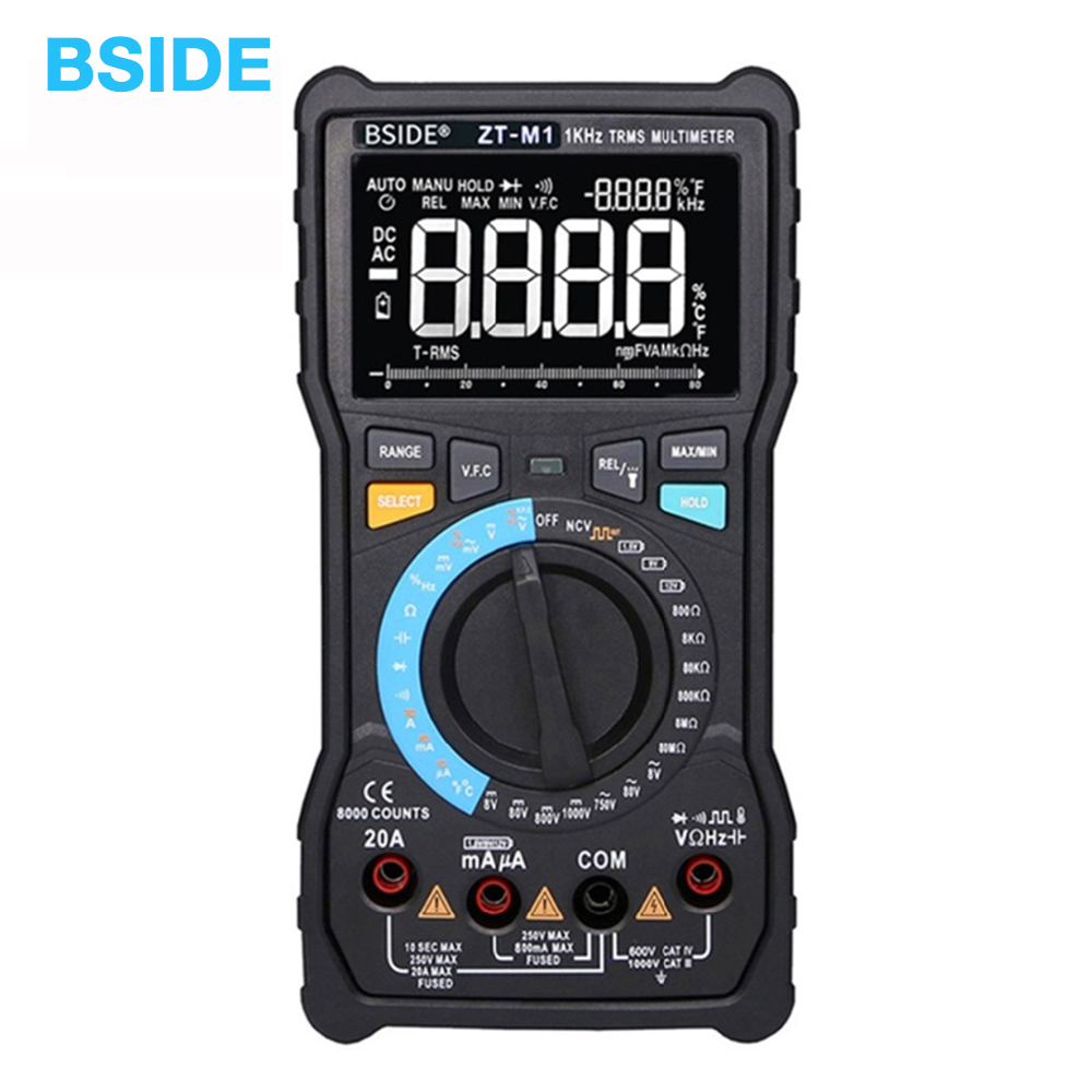 BSIDE ZT M1 Auto Manual Digital Multimeter EBTN Triple Display 8000 Counts Battery Test Voltage VFC