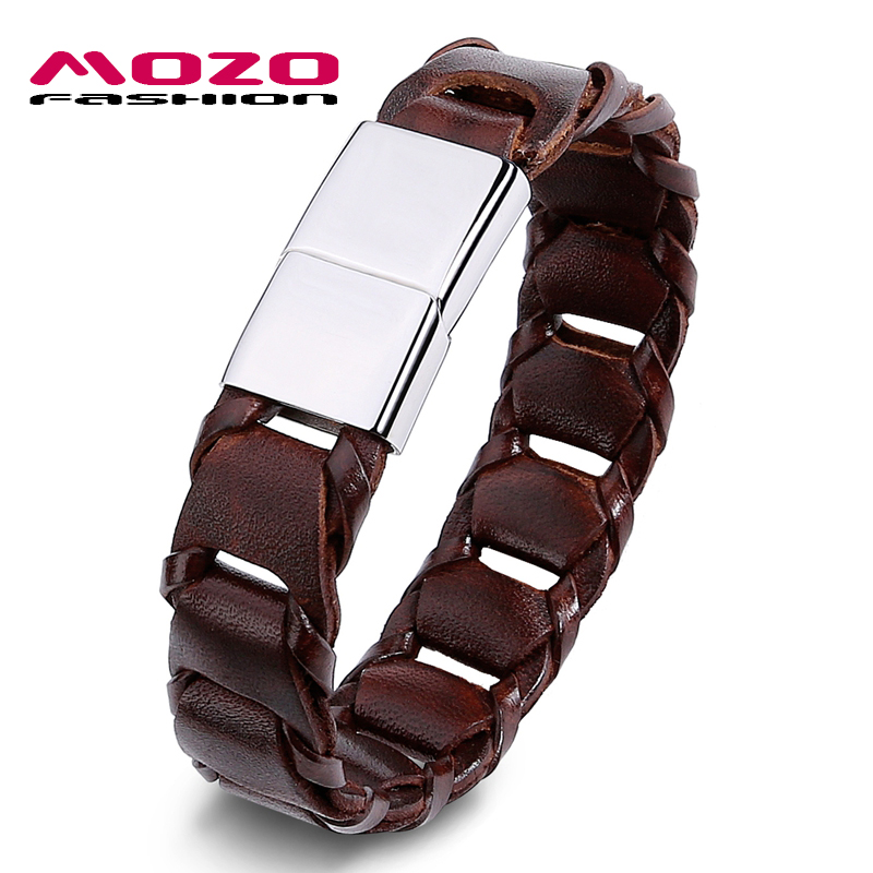 Prix pour MOZO MODE Rock Hommes Bracelet Large En Cuir Vintage Corde Bracelet En Acier Inoxydable Magnétique Fermoirs Bracelet Casual Bijoux PS3002