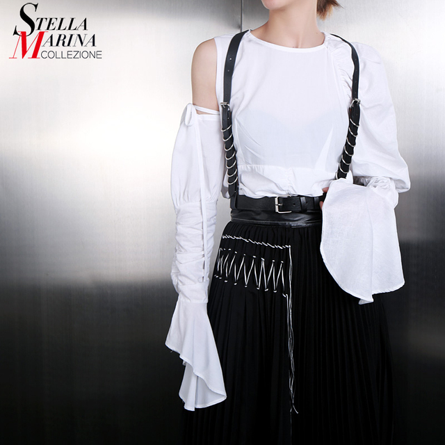 2ac4b88964b6 2019 Women Summer Very Long Flare Sleeve Solid White Tee Top One Shoulder  Hollowed Female Unique Street Wear T-shirt Tshirt J508