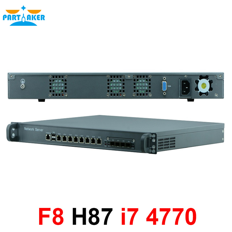1U Firewall Network Appliance Hardware With 8 Ports Gigabit Lan 4 SPF Intel Core I7 4770 4G RAM 128G SSD Mikrotik PFSense ROS
