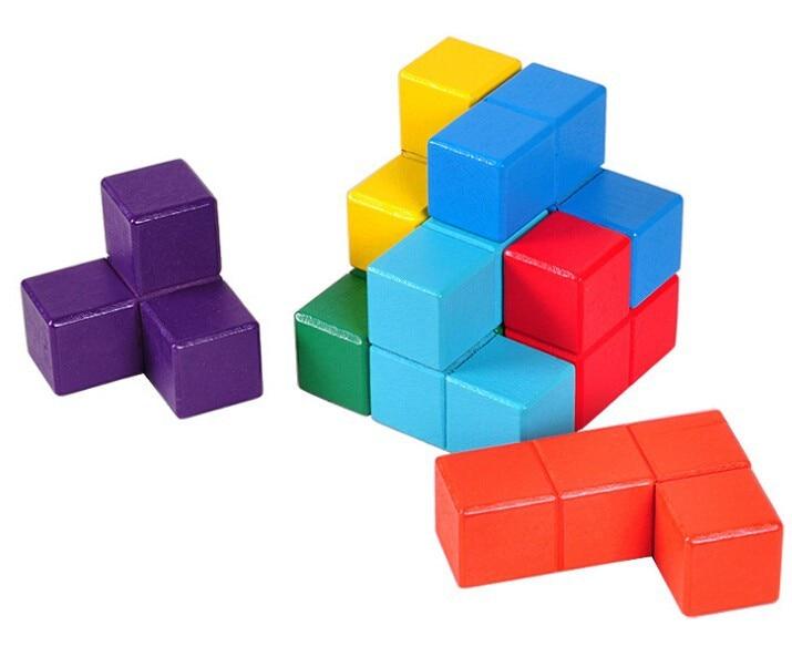Multi-culoare 3D din lemn Soma Puzzle Brain teaser IQ mintea lemn Tetris cub puzzle-uri Jucarii pentru copii Adulti
