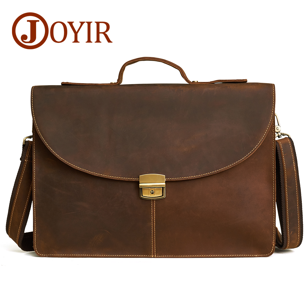 JOYIR 15.6 Inch Genuine Leather Bag Men Briefcase Leather Laptop Bag Business Computer Shoulder Bag Crossbody Messenger Handbag