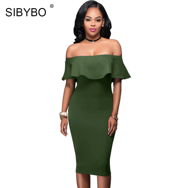 Sibybo Off Shoulder Short Sleeve Burgundy Ruffle Summer Dress 2017 Women Sexy Slim Bodycon Mini Evening