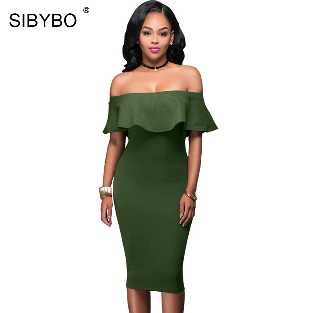 d63678cdade0 Sibybo Off Shoulder Dress Summer Short Sleeve Ruffle Ladies Dresses 2018 Women  Sexy Slim Bodycon Mini Evening Club Dresses