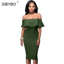 Sibybo Off Shoulder Short Sleeve Burgundy Ruffle Summer Dress 2017 Women Sexy Slim Bodycon Mini Evening Club Dresses