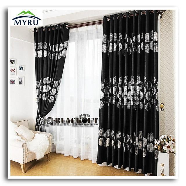 € 23.42 |MYRU nouvelle arrivée noir couleur avec argent sans fin tissu  rideaux blackout rideau salon rideaux livraison gratuite dans Rideaux de ...