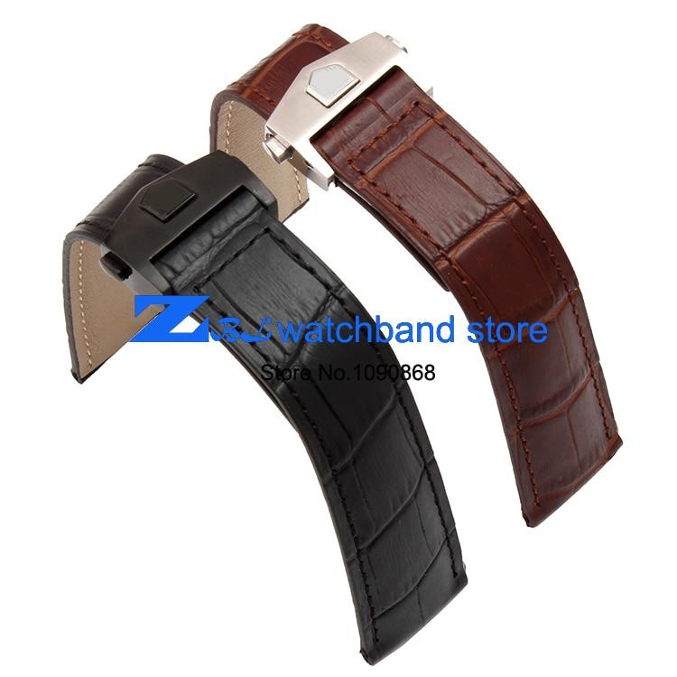 γνήσιο δερμάτινο λουρί ρολόι 19 χιλιοστά 20 χιλιοστά 22 χιλιοστά ρολογιών ρολογιών μπάντα μαύρη Watchband άνδρες ρολόι βραχιόλι πτυχή αξεσουάρ πόρπη