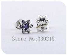 Compatible con Pandora joyería Forget Me Not pendientes de plata con púrpura y Clear CZ 925 joyería de plata DIY