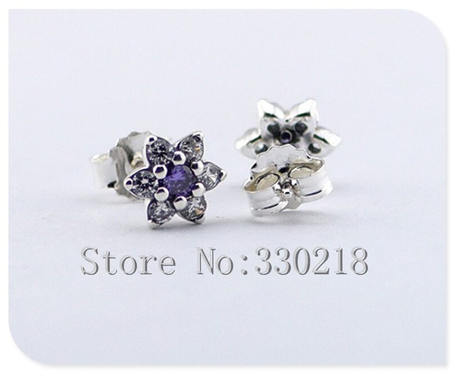 Compatible with Pandora Jewelry Forget Me Not Silver Stud Earrings With Purple &Clear CZ 925 Sterling Silver Jewelry DIY