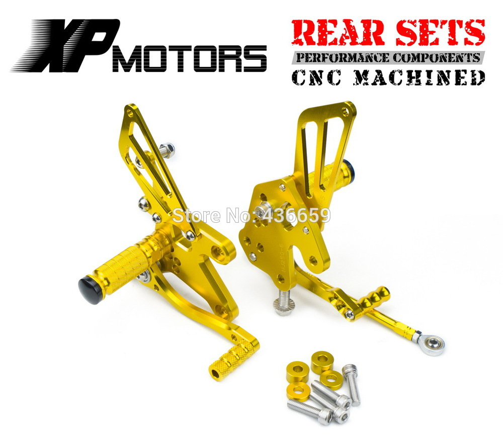 Race CNC  Foot Control Kit Adjustable Foot Pegs Rear Sets For Kawasaki Z250 Z 250 2013-2014 Gold